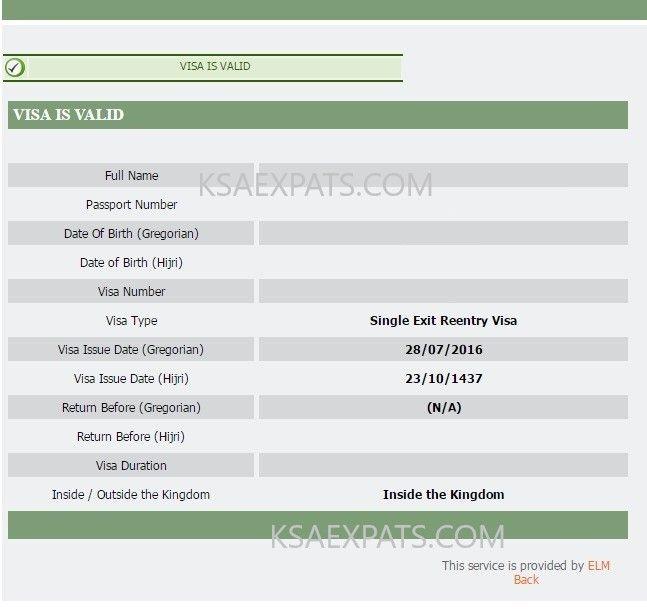 Check Exit Re Entry Status Visa Validity Service Visa Passport Number Exit