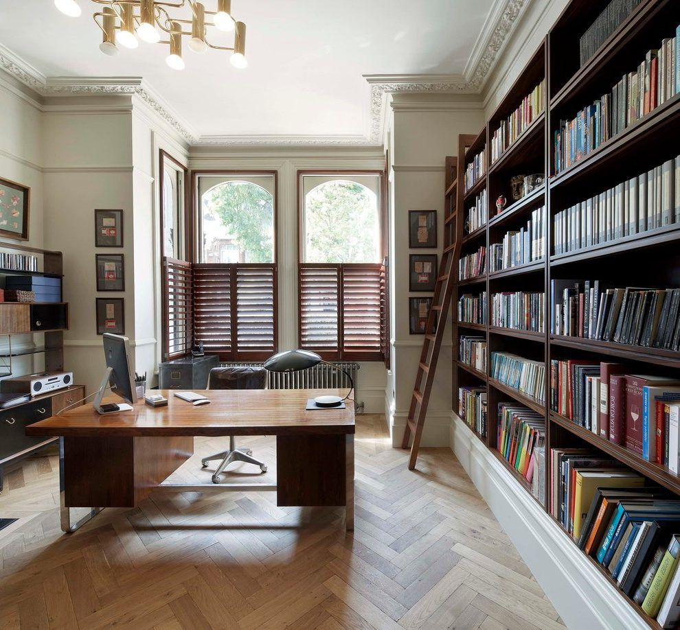 library home office renovation. Herringbone Wood Floor Home Office Transitional With Ornate Plaster Desk Library Renovation