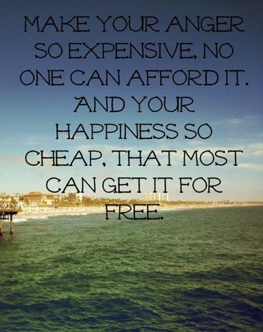 expensive anger and cheap happiness
