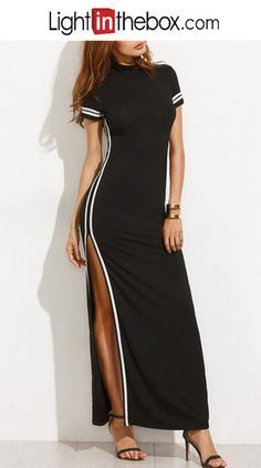 [$12.59] Women's Club Bodycon Little Black Dress - Color Block Black, Split  Maxi