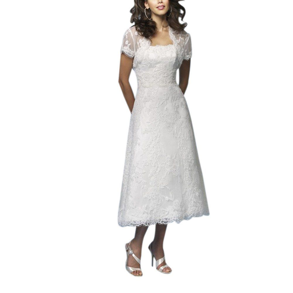 Wedding Dresses For Over 50s Uk: High Low Tea Length Wedding Dress With Jacket For Women