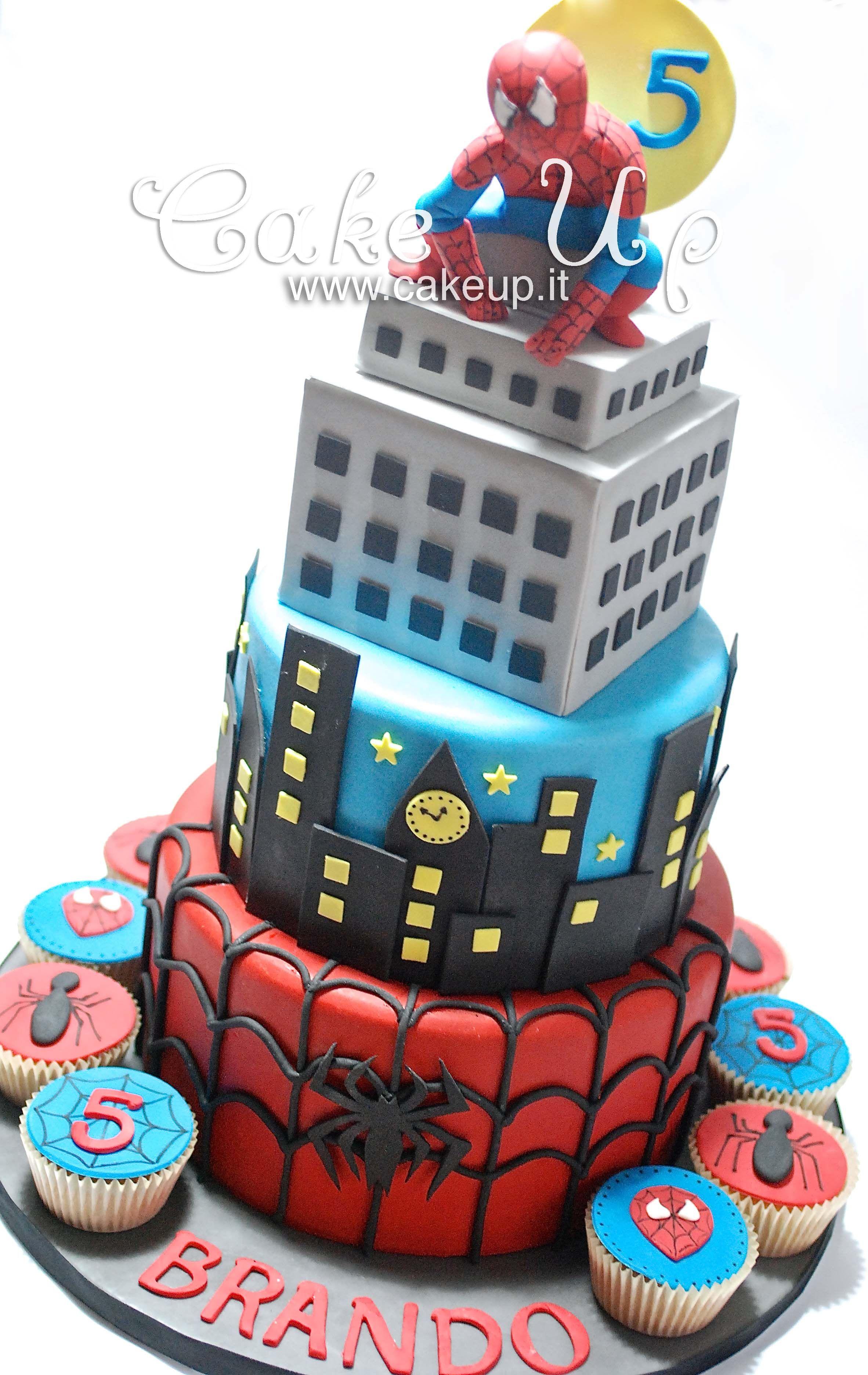 spiderman tower cake