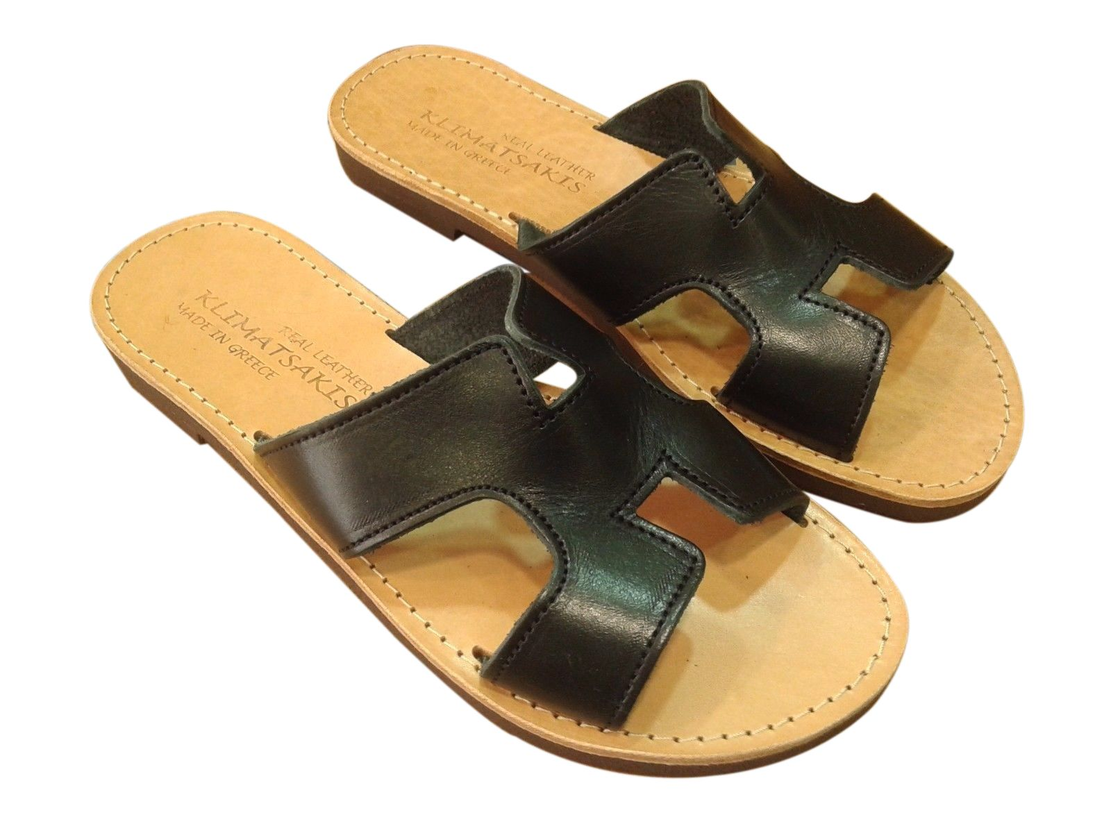 331c2c6df342 Ancient Greek Style Leather H Sandals Roman Handmade Womens Slide Shoes  Gladiator Spartan Hermes Summer Black