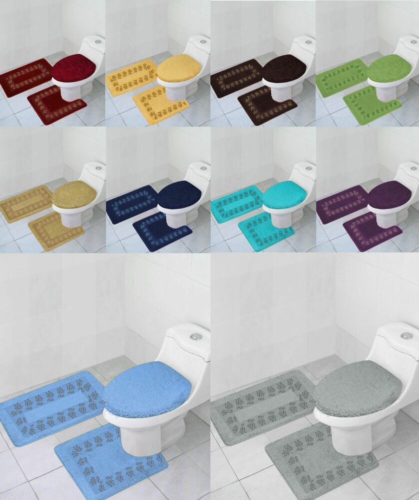3pc Bathroom Set Rug Contour Mat Toilet Lid Cover Solid Embroidery
