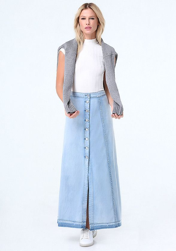 Denim Button Up Maxi Skirt | Long denim skirts | Pinterest