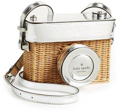 kate spade new york 'grand tour' wicker camera shoulder bag