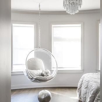 Bedroom With Acrylic Bubble Hanging Chair Contemporary Bedroom Bedroom Hanging Chair Hanging Chair Chair Design