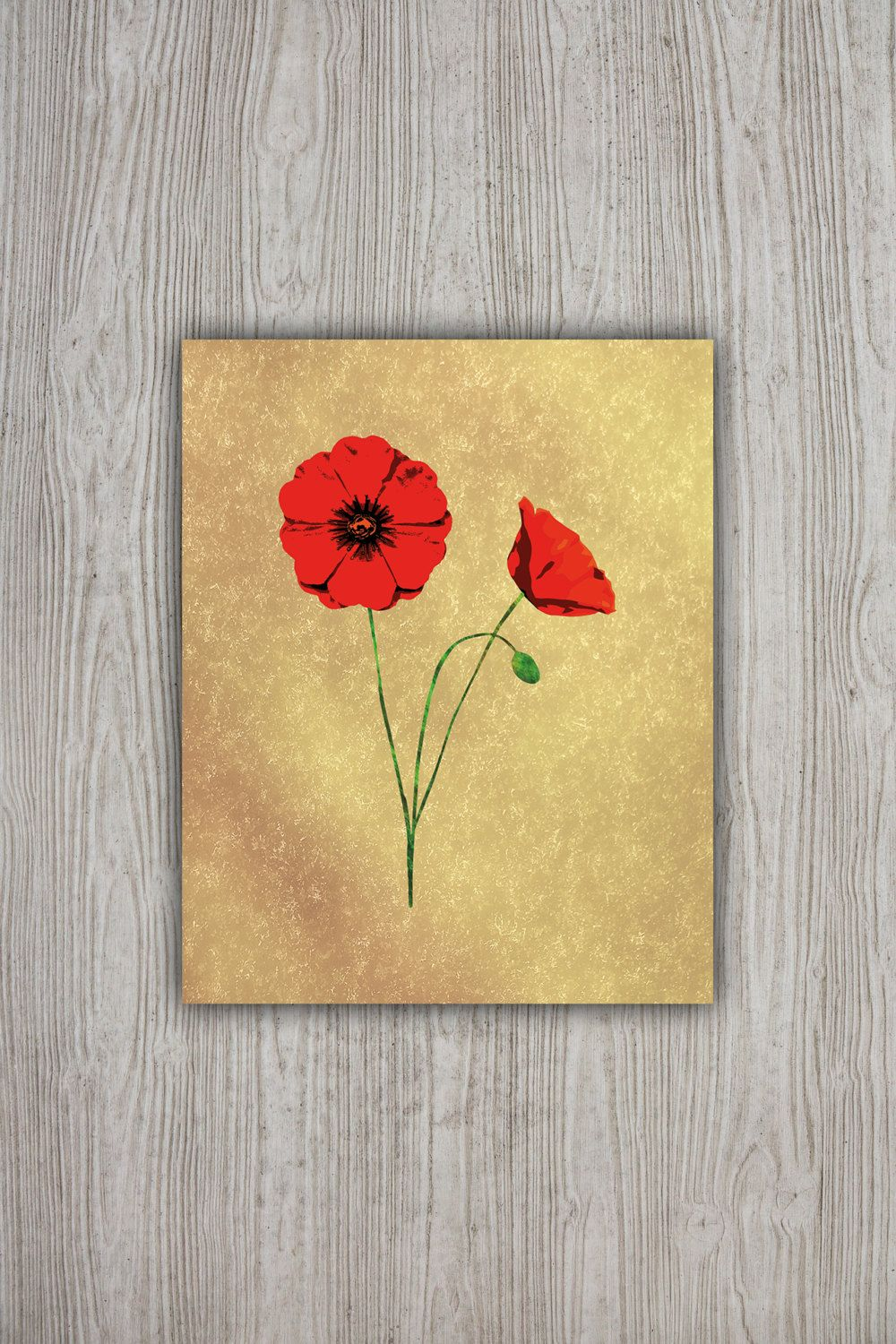 Red Poppies Wall Art Print 8x10, Floral Poster Flower Printable ...