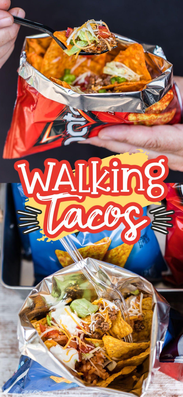 Walking Taco Recipe (Taco Bar) in 2020   Walking tacos ...