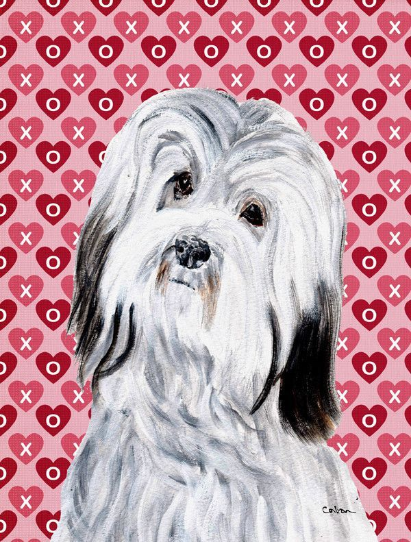 Havanese Hearts and Love Flag Canvas House Size SC9713CHF