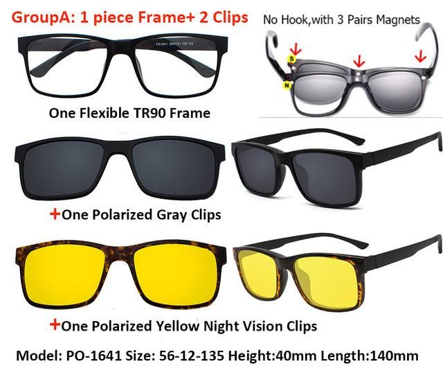 528a40275af IVSTA Include Frame Polarized Clip On Sunglasses Men TR90 Custom  prescription lenses Magnetic clips night glasses drive Magnet