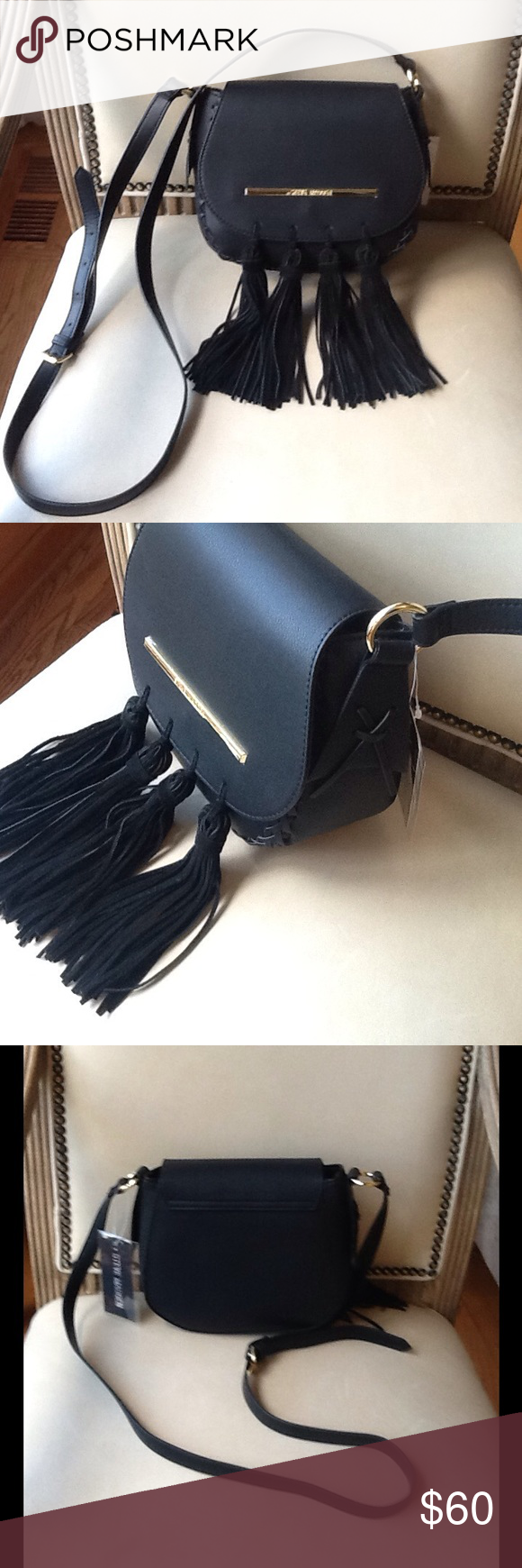 STEVE MADDEN TASSEL FRINGE CROSSBODY Brand new with tags attached. Black with suede tassels.  Crossbody style with gold hardware and 3 pockets on the inside. Ones zipper pocket and 2.small pockets. Sharp and looks even better in person. I bought this new for $68 Steve Madden Bags Crossbody Bags