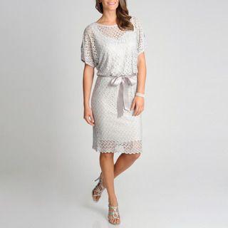 R & M Richards Women's Crochet Blouson Dress