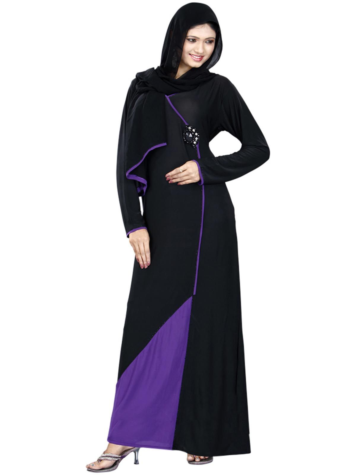 Solid Black And Purple Cly Abaya Burka With Stole Hijabfashion Hijabstyle Dress