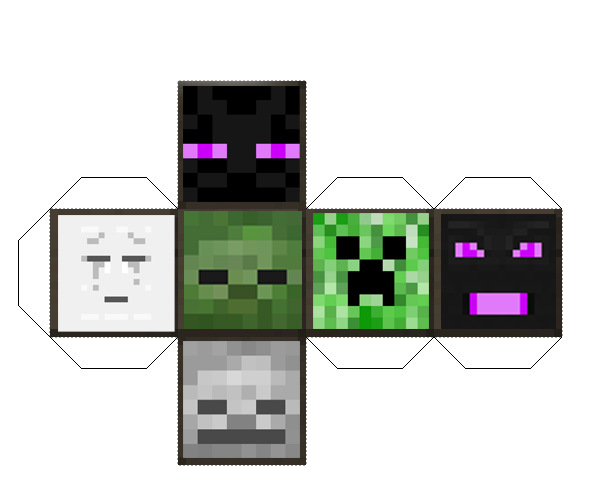 Papercraft Mob Die Minecraft Party Minecraft Printables Minecraft Drawings