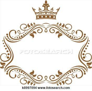 Elegant Royal Frame With Crown Clipart K8997094 Royal Frame Monogram Frame Monogram Border