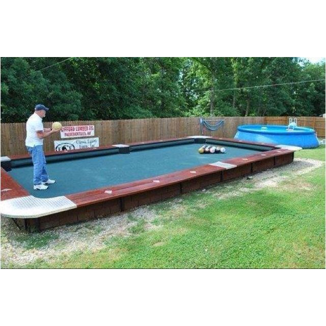 Backyard pooltable? @Annie Malone we need this for football