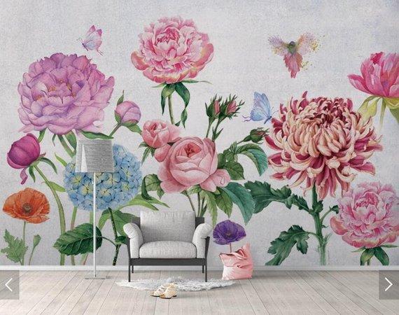 Poppies Wall Mural Wall Mural Romantic Wallpaper Floral Wall Mural Flowers