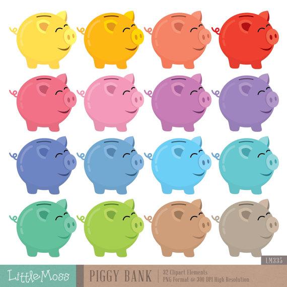Piggy Bank Digital Clipart Digital Clip Art Clip Art Piggy Bank
