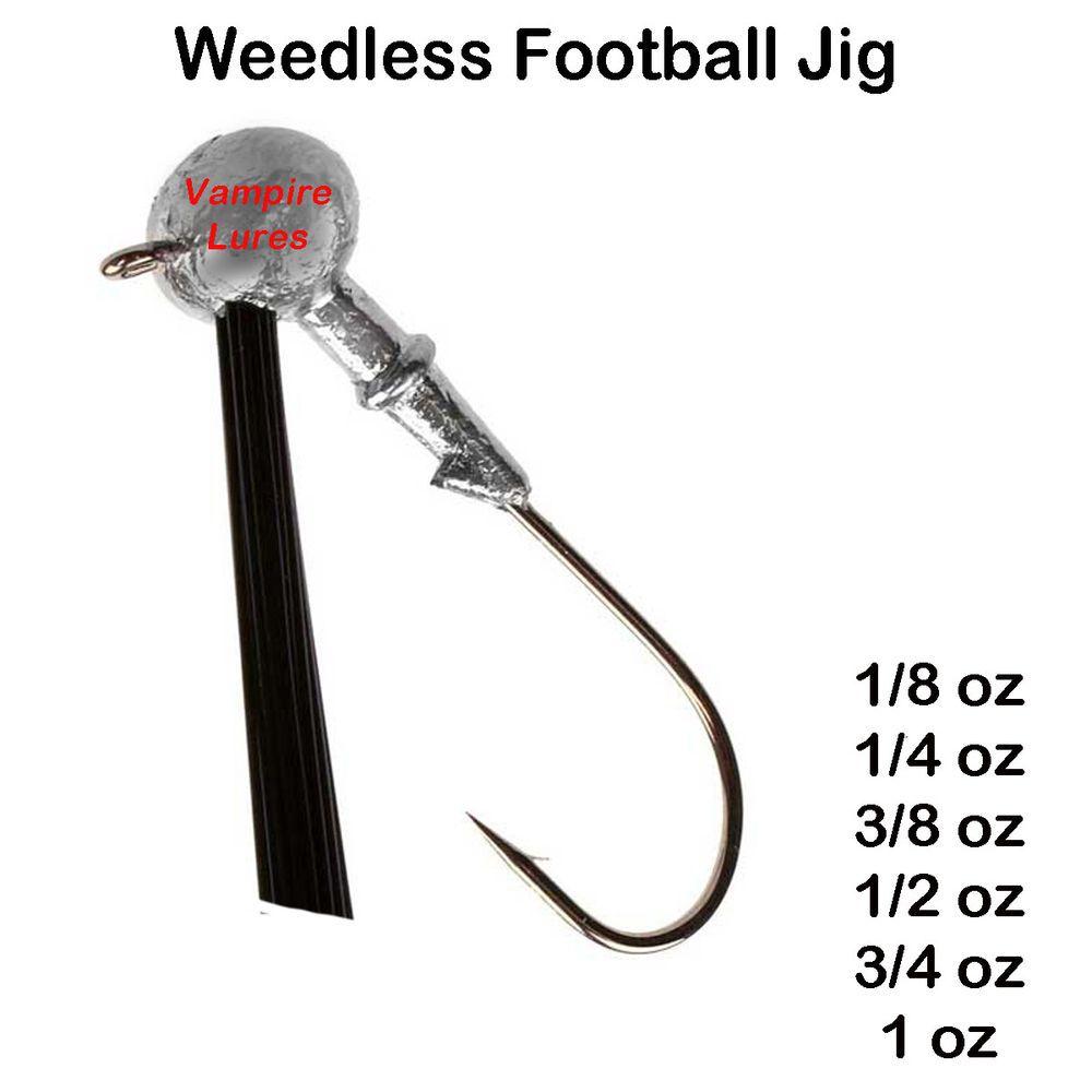 Football bass jig head lure weedless mustad hook 25 50