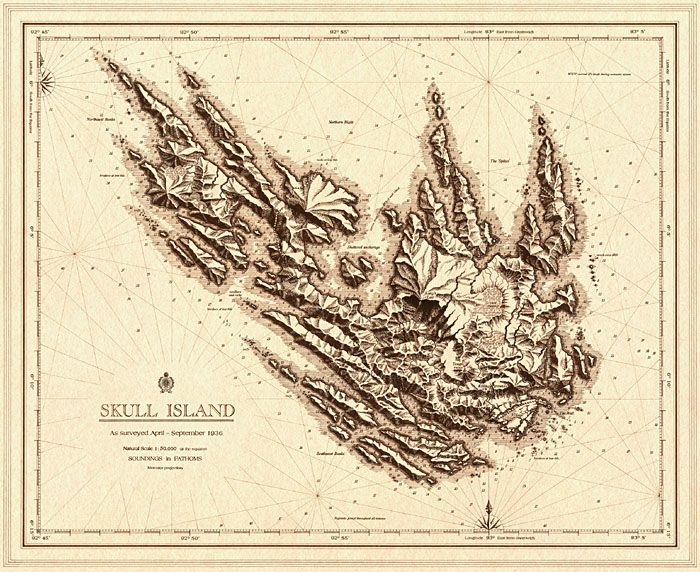 A map of Kong's home Skull Island. Can find a more vintage looking King Kong World Map on national treasure map, the hunger games map, the lion king map, monsters university map, raiders of the lost ark map, robin hood map, headless horseman map, lone survivor map, the most dangerous game map, saving private ryan map, the ring map, a princess of mars map, jurassic park map,