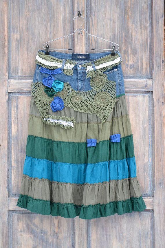 Gypsy skirt folk L XLrecycled long skirt hippi