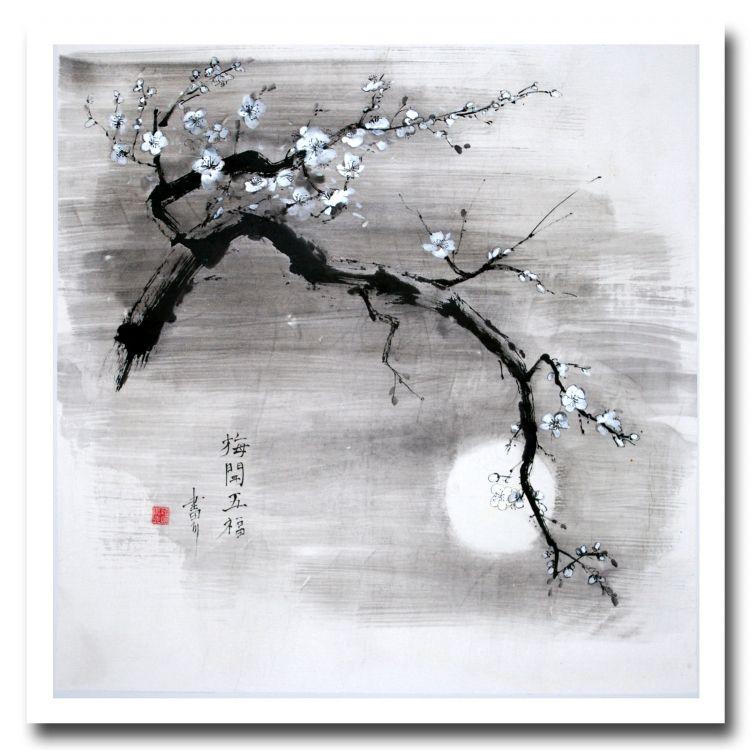 Tableau peinture japon encre de chine fleurs clair de lune cerisier en fleur arts de l 39 asie - Dessin arbre chinois ...