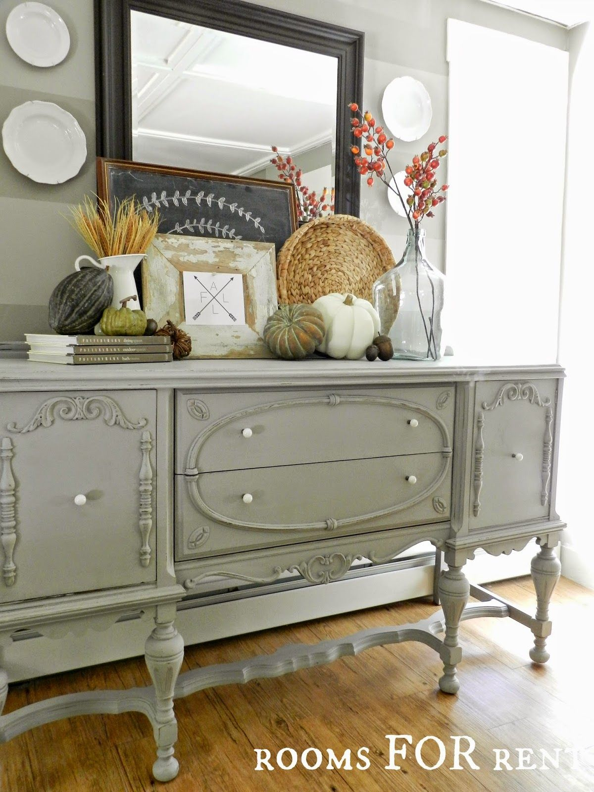 Pebble Beach Country Chic Paint Rooms FOR Rent Fall Vignette And Compass Arrow Dining Room SideboardBuffet