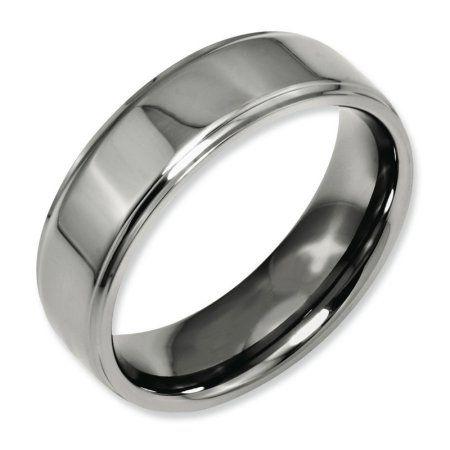 Titanium 7 Mm Polished Diamond Ridged Edge Wedding Band Engagement & Wedding Bridal & Wedding Party Jewelry