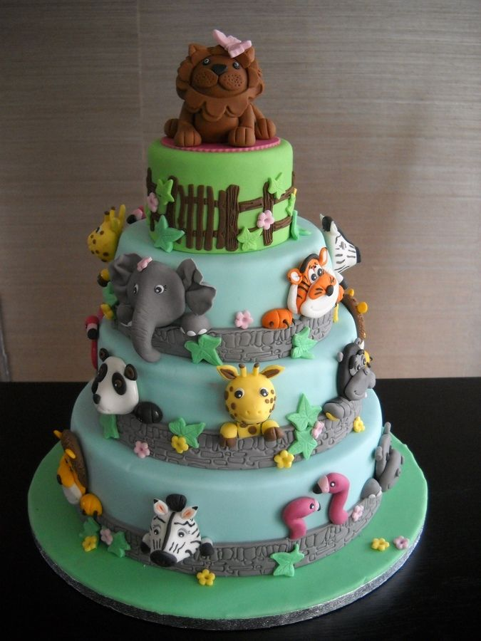 animalcakesforkidsbirthday Animal zoo cake Childrens