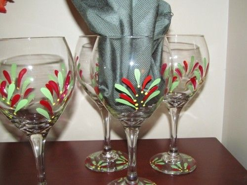 Hand Painted Bright Color Wine Glasses Set of Four Recycled
