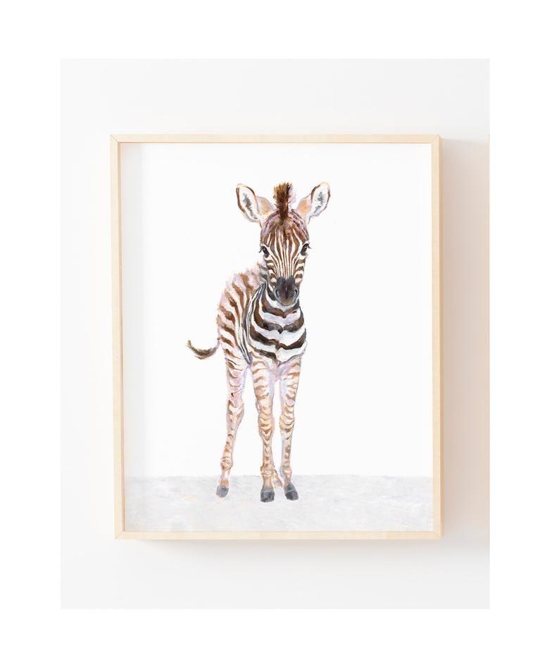 Safari Kindergarten Druck Set von 3, Zebra, Giraffe