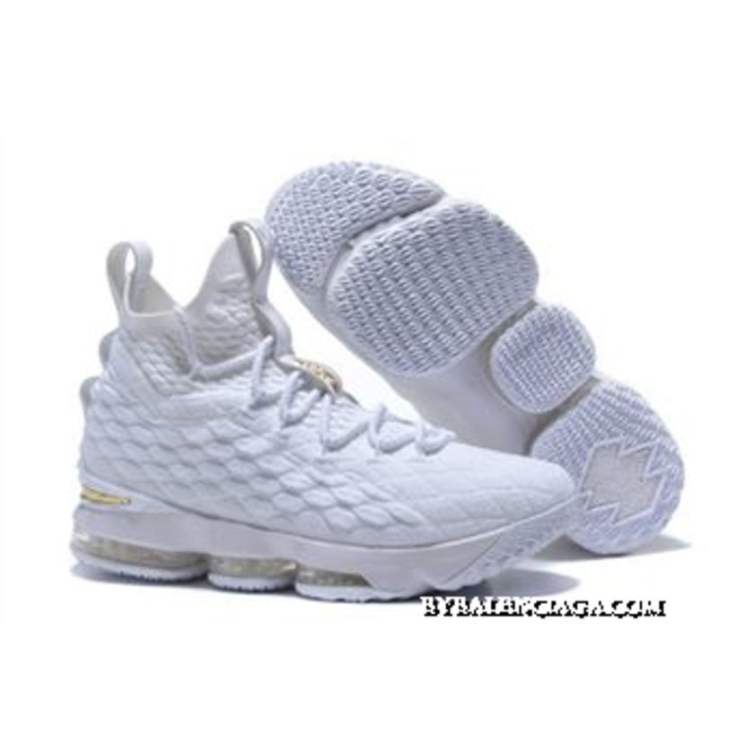 Super Deals Nike LeBron 15 White/Metallic Gold Men's ...