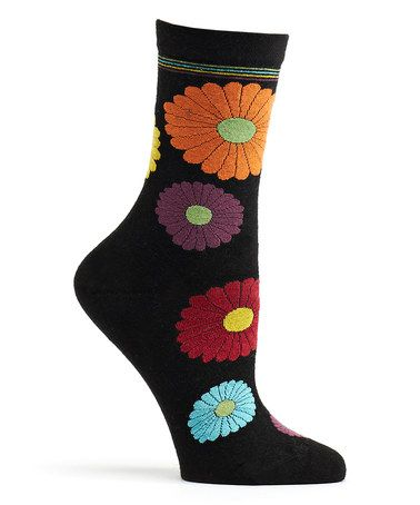 This Black Mini Flower Power Socks is perfect! #zulilyfinds