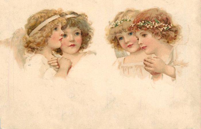 Картинки мультиков, винтажные открытки ангел