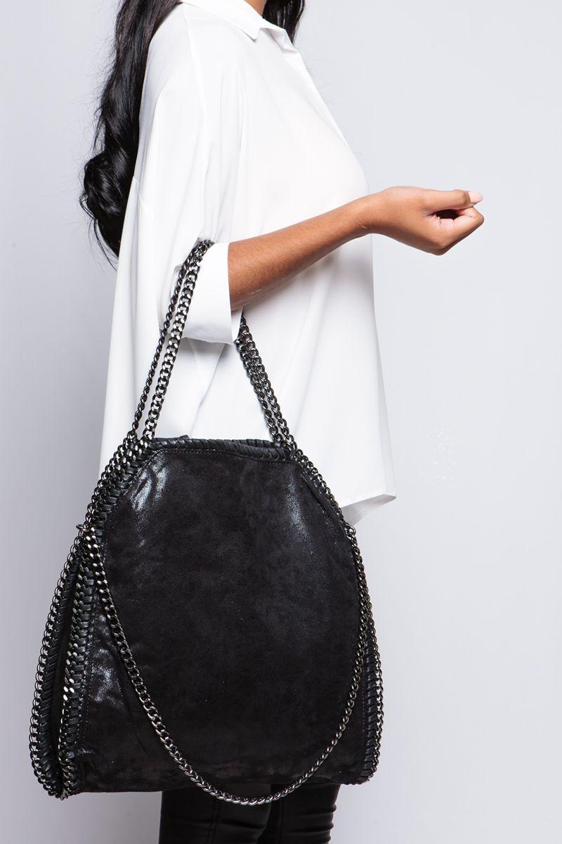 Stella Black Chain Detail Shoulder Bag at misspap.co.uk 6d5f420f9434