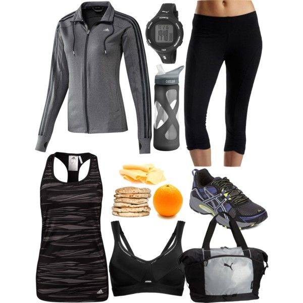 """""""Grey Black Workout Outfit"""" by laura-blakney on PolyvoreGrey black workout exercise running gym clothes outfit sneakers sports bra tank top yoga pants healthy snack water bottle gear bag Puma Nike"""