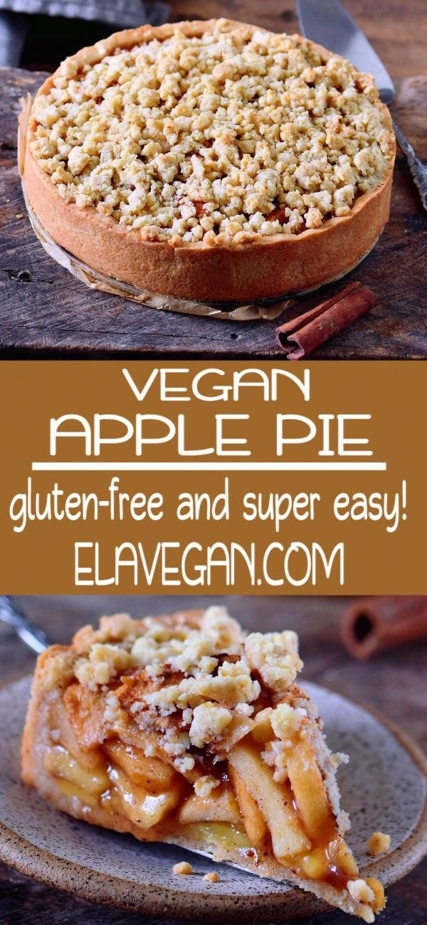 This vegan apple pie with streusel is the perfect fall dessert. It will make your kitchen smell like heaven and sweeten up your day. The recipe is vegan, gluten-free, can be made nut-free and refined sugar-free. #applepie #veganapplepie #veganpie #vegandessert #elasrecipes   elavegan.com