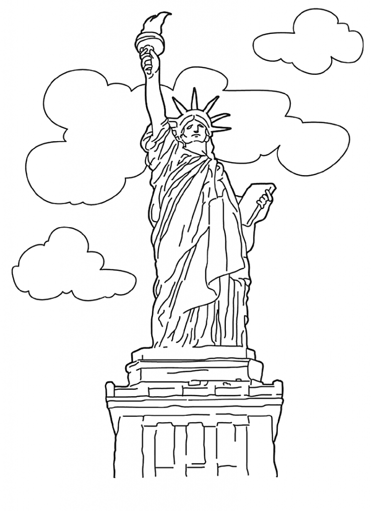 Free Printable Statue of Liberty Coloring Pages For Kids | Malen und ...
