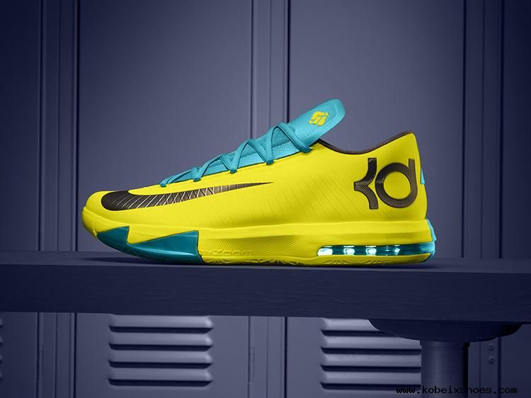 new product 90a4b 3cfa5 NIKE KD VI 6 SEAT PLEASANT Yellow Teal-Navy