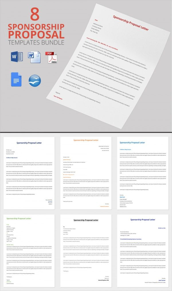 Sponsorship Proposal Letter Bundle Template  Indesign Help