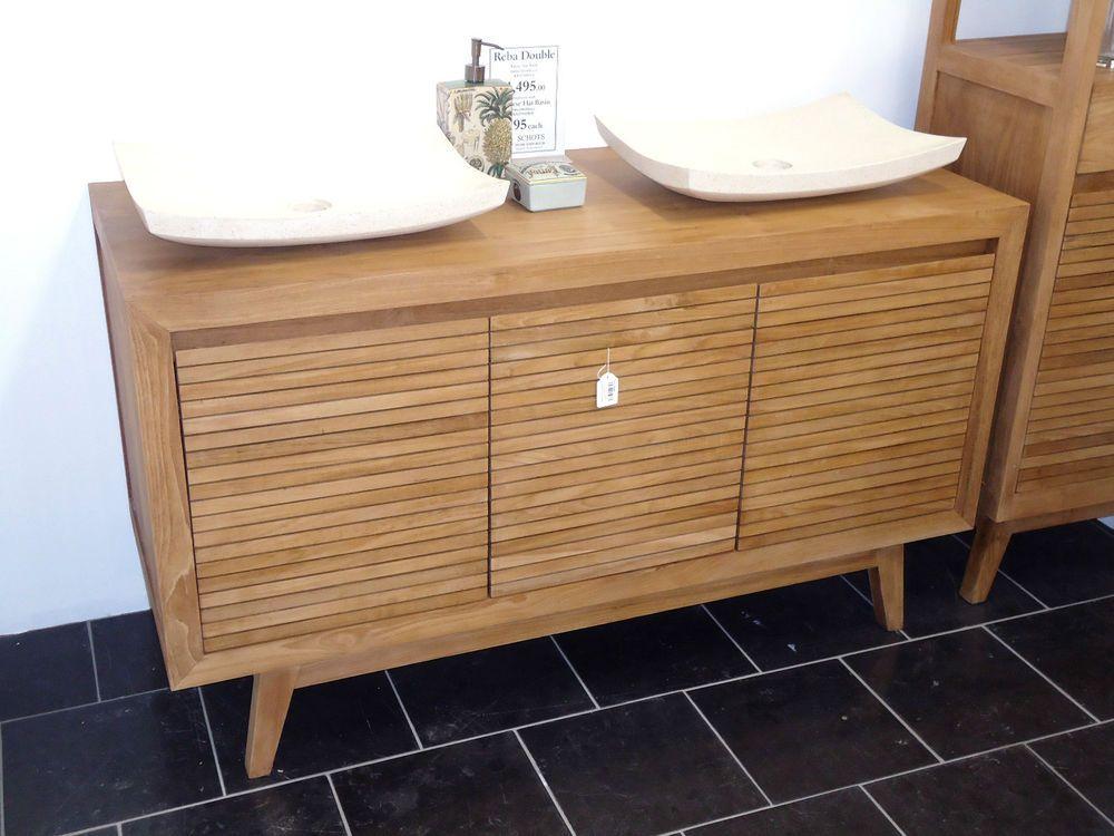 Schots Reba Contemporary Double Bathroom Teak Timber Vanity / Cabinet Unit
