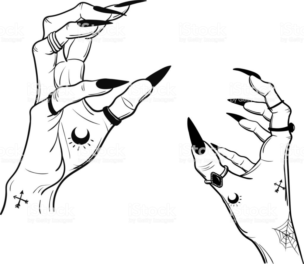 Witch Hands With Black Nails Rings Magic Boho Style Hand Art Drawing Creepy Hand Witch Hands