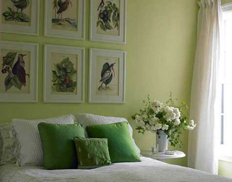 beautiful greens, relieved by warmer tones in the antique prints - understated elegance is always good