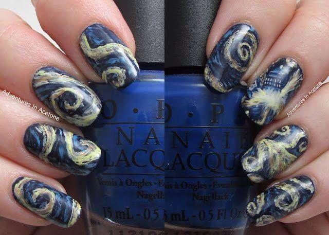 Exploding Tardis Van Gogh Nail Art Amazing Doctorwho