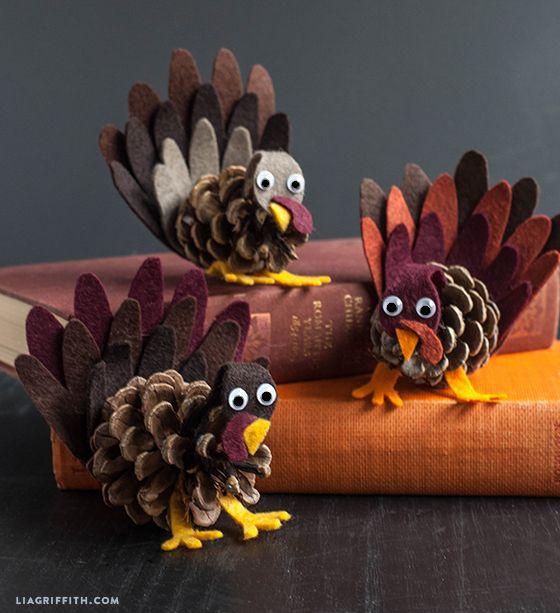 Felt and Pine Cone Turkeys (Kid's Craft) - Lia Griffith