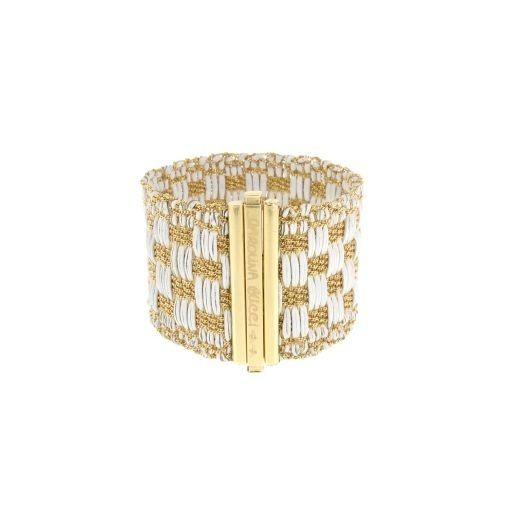 CAROLINA BUCCI pulseira. Manguito trançado em ouro amarelo 18k e couro branco by Divonsir Borges