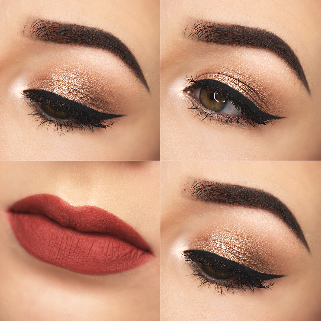 Champagne Eyes Terracotta Lips Just Little Things Red Lip Makeup Red Dress Makeup Eye Makeup [ 1300 x 1300 Pixel ]