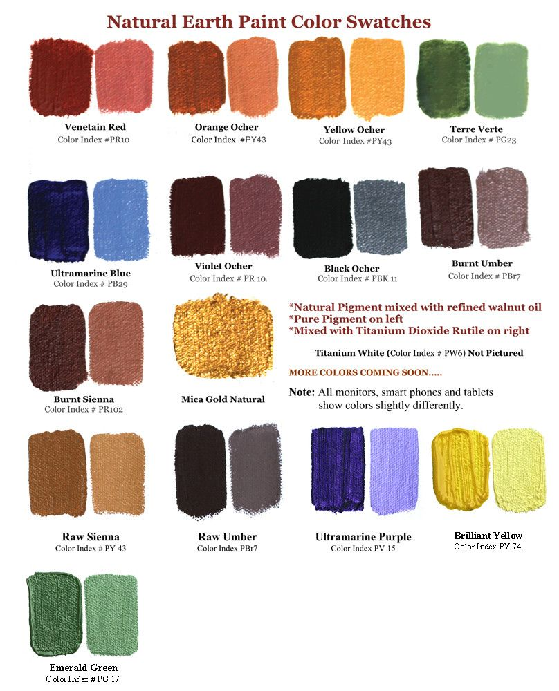 Natural Earth Paint Color Swatches Oil Painting Nature Paint Kit