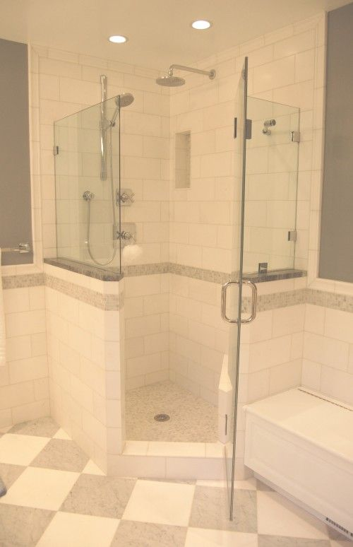 example of how to transition from full shower wall to wainscoting rh pinterest com